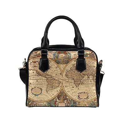 Antique world map custom leather handbag shoulder bag for womentwin antique world map custom leather handbag shoulder bag for womentwin sides gumiabroncs Images