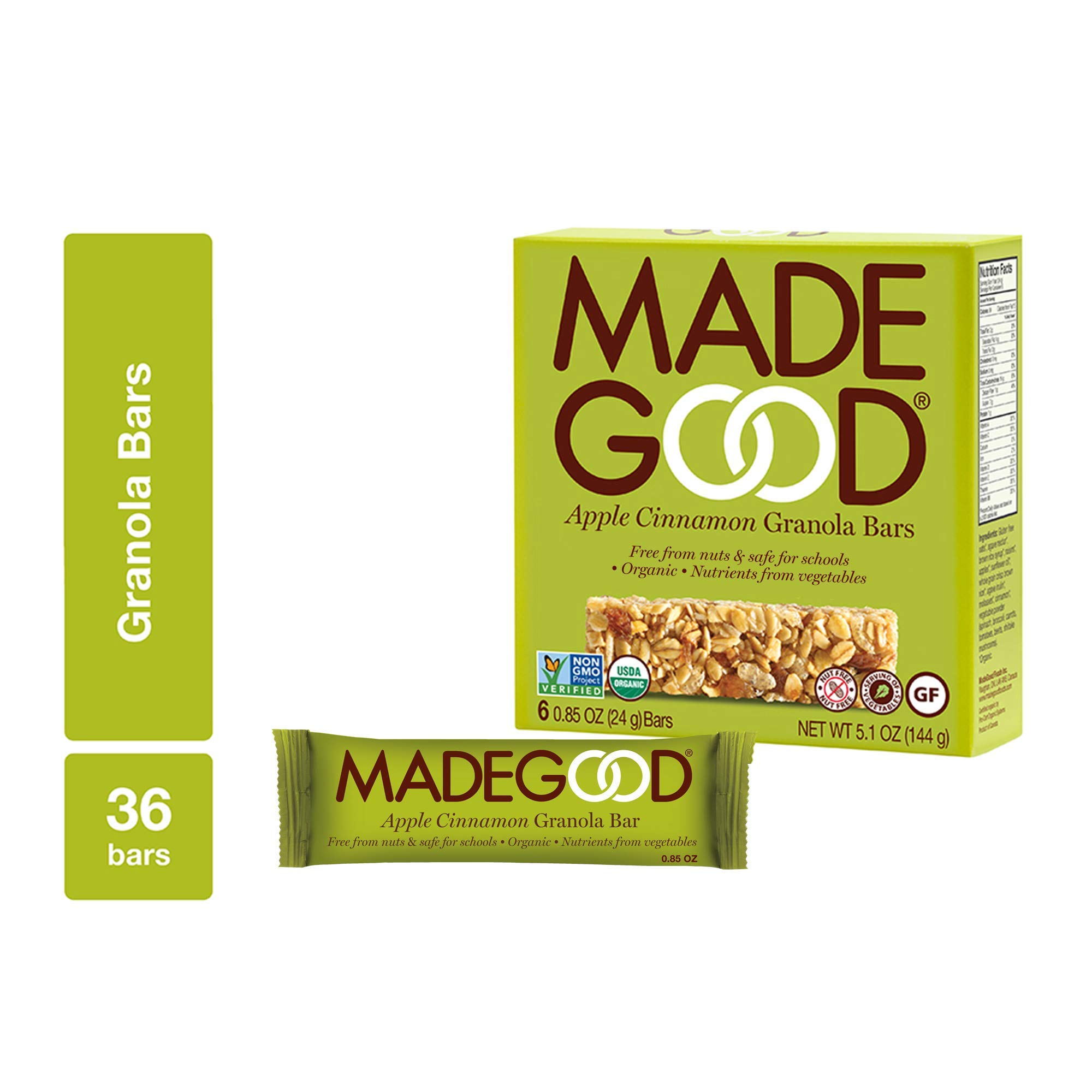 MadeGood Apple Cinnamon Granola Bars, 6 Pack (36 ct, .85 ounce); Contain Nutrients of One Serving of Vegetables; Gluten-Free Oats, Sweet Apples and Spicy Cinnamon; Nut and Allergen-Free Bars by Made Good