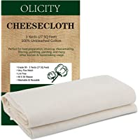 Olicity Grade 90, 27 Sq Feet, 100% Unbleached Cotton Fabric Ultra Fine Muslin Cloths for Butter, Cooking, Strainer…