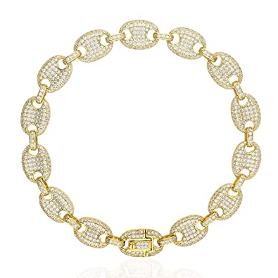 6c001a1336fef Amazon.com: Gold Over 925 Silver Iced Out Zirconia 10mm Puffed ...
