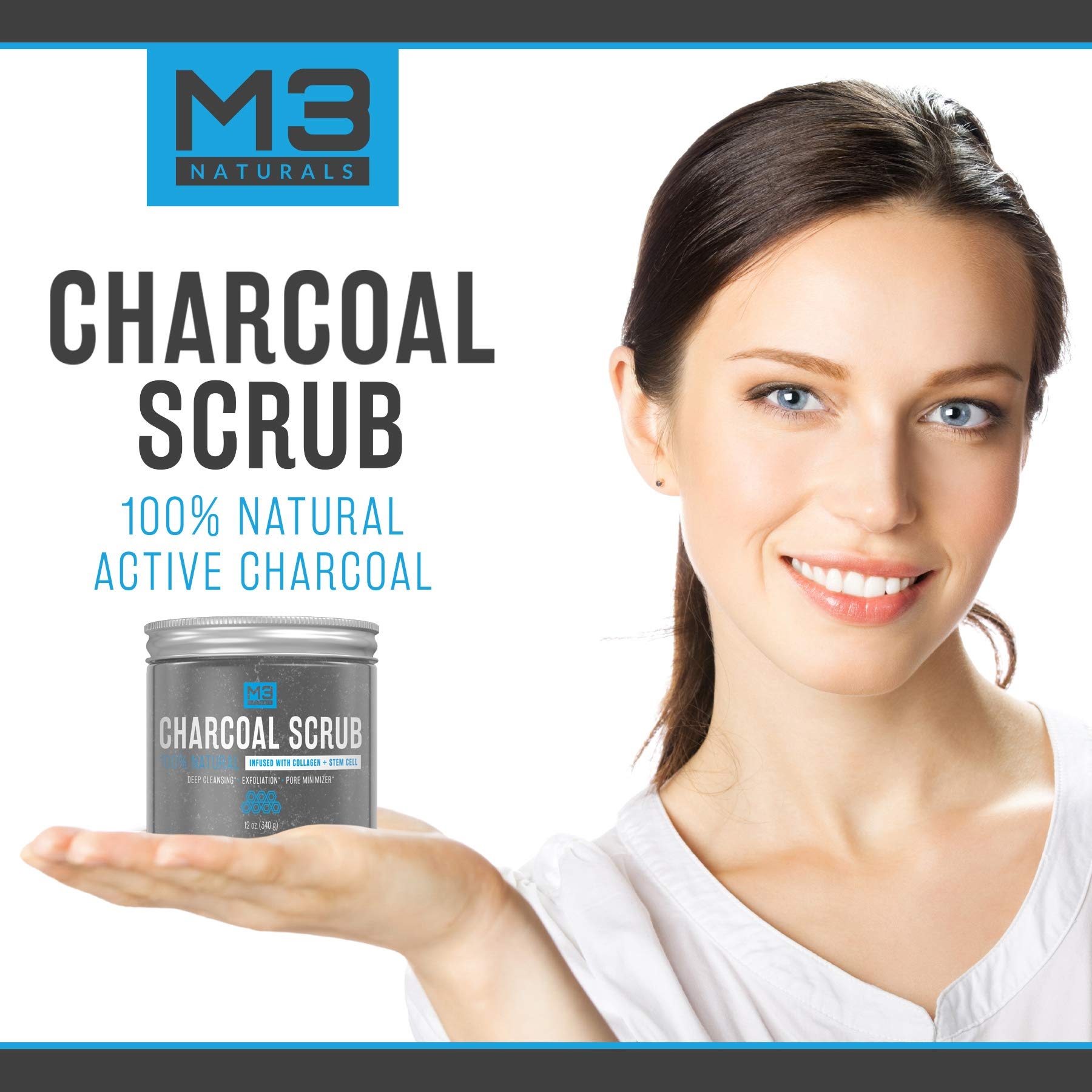 M3 Naturals Activated Charcoal Scrub Infused with Collagen & Stem Cell All Natural Body & Face Skin Care Exfoliating Blackheads Acne Scars Pore Minimizer Reduces Wrinkles Anti Cellulite12 OZ by M3 Naturals (Image #5)