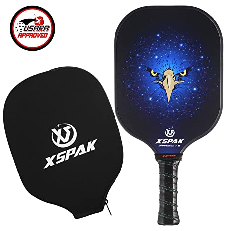 XS XSPAK Pickleball Paddle - Lightweight Graphite/Carbon Fiber Face & Polypropylene Honeycomb Composite Core Paddles Including Racket Cover, Meets ...
