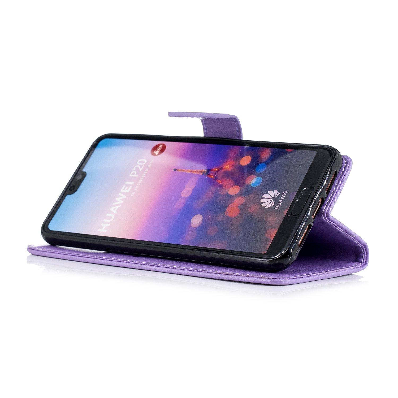 Housse Huawei P20,Coque Huawei P20 Pochette Portefeuille Housse en Cuir Coque /à Rabat Clapet Etui Coque Paillett/é Brillante Glitter 3D Relief PU Premium Flip Case Etui Huawei P20,Dor/é