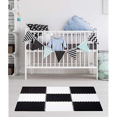 Dooboe Play Mat - Foam Play Mat for Baby - Interlocking Carpet Tiles - Black White Mat - Anti-Fatigue, Non-Toxic, Easy to Clean, EVA Foam - 3 ft. x 3 ft.: Kitchen & Dining