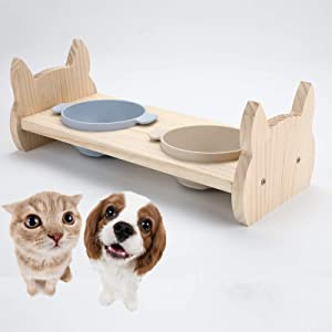 Legendog Raised Cat Dog Food Bowls, Tilted Enhanced Pet Bowls Dishes for Cats and Puppy, Wooden Elevated Cat Water Bowls Stand Feeder with 2 Cat Ceramic Bowls