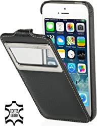 StilGut, UltraSlim, pochette exclusive en cuir véritable avec clapet et petit hublot (iOS 7) pour l'iPhone 5 & 5s d'Apple, noir