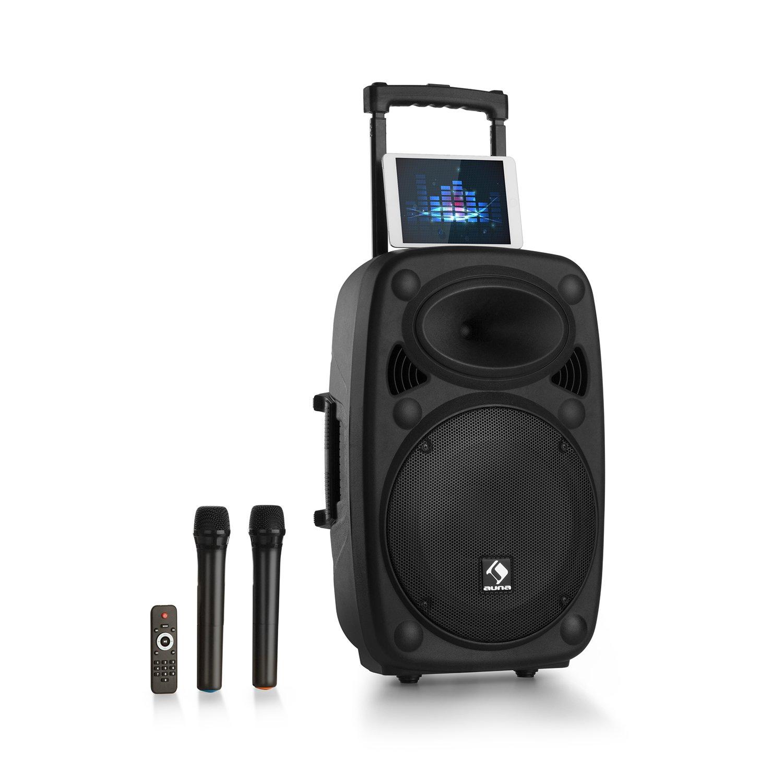 auna Streetstar 2.0 12 • système de sonorisation mobile • subwoofer 12  (30,5 cm) • pour événements jusqu'à 100 personnes • poignée de trolley • Bluetooth • USB • lecteur SD-MP3 • radio FM • noir PAS4-Streetstar 12
