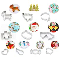 Geecol Cookie Cutters Set, 10Pcs Stainless Steel Festival Cookie Biscuit Candy Molds Baking Mold for Holiday, Party(Including Santa Claus, Bells, Snowflake,Snowman.)
