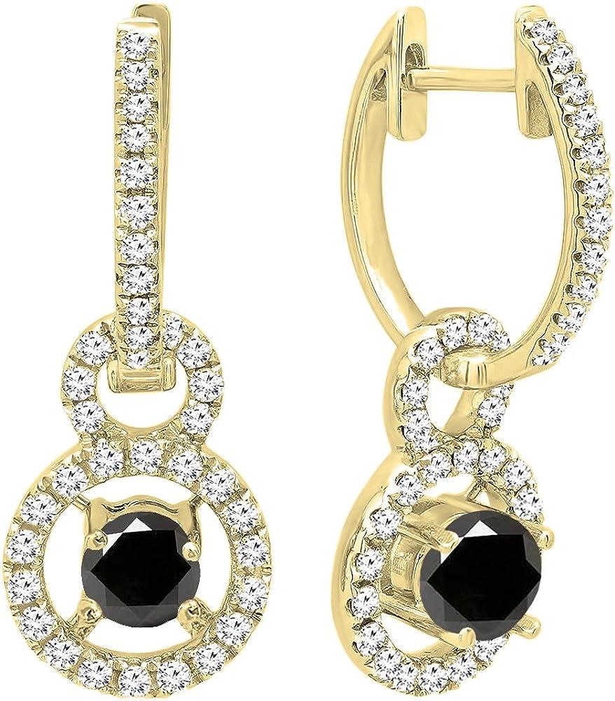 DazzlingRock Collection 18k Oro Amarillo Corte Redondo Piedras Preciosas y Diamantes Mujer halo Colgando Pendientes Blanco y Negro Diamante Negro
