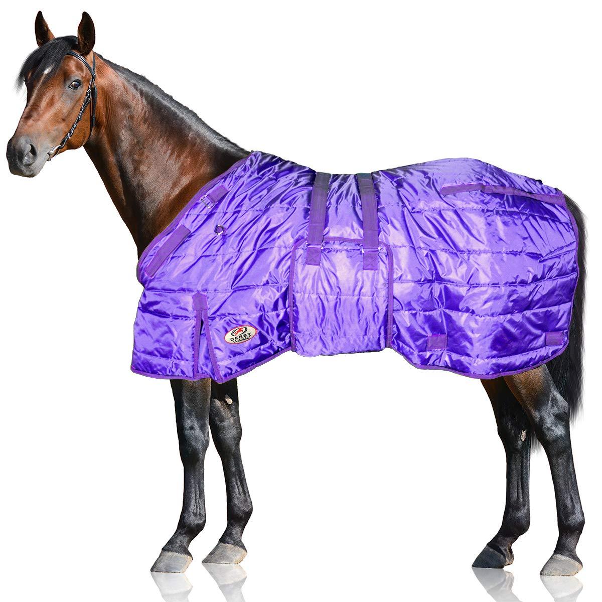 Derby Originals 80-8074-PR-75 Windstorm Series 420D Mediumweight 200g Polyfil Horse Stable Blanket (75'', Purple with Purple Trim)