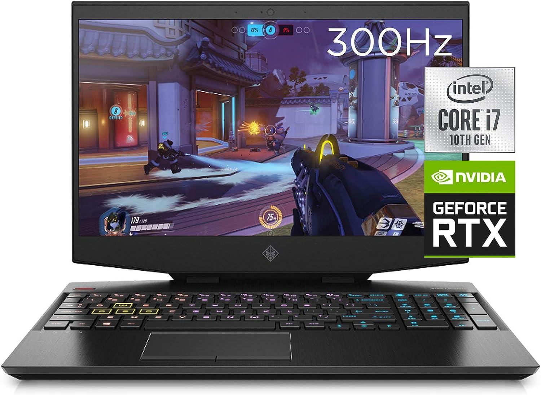 "OMEN 15 Gaming Laptop, NVIDIA GeForce RTX 2070 Super Max-Q, Intel Core i7-10750H, 32 GB DDR4 RAM, 512 GB PCIe NVMe SSD, 15.6"" Full HD 300Hz, Windows 10 Home, RGB Keyboard (15-dh1019nr, 2020 Model)"
