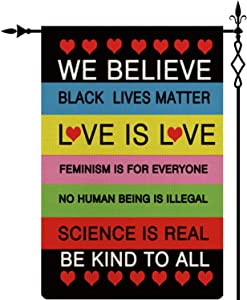 in This House We Believe Garden Flag,Black Lives Matter Garden Flag Double-Sided Lawn Decoration Gift House Garden Yard Banner Revolution Movement Equality Social, Thick Fabric, Small Flag Only