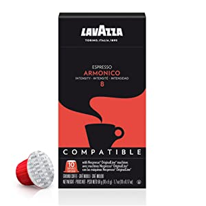 Lavazza Premium Coffee Corp Nespresso OriginalLine Compatible Capsules, Armonico Espresso, Dark Roast Coffee, 10 ct
