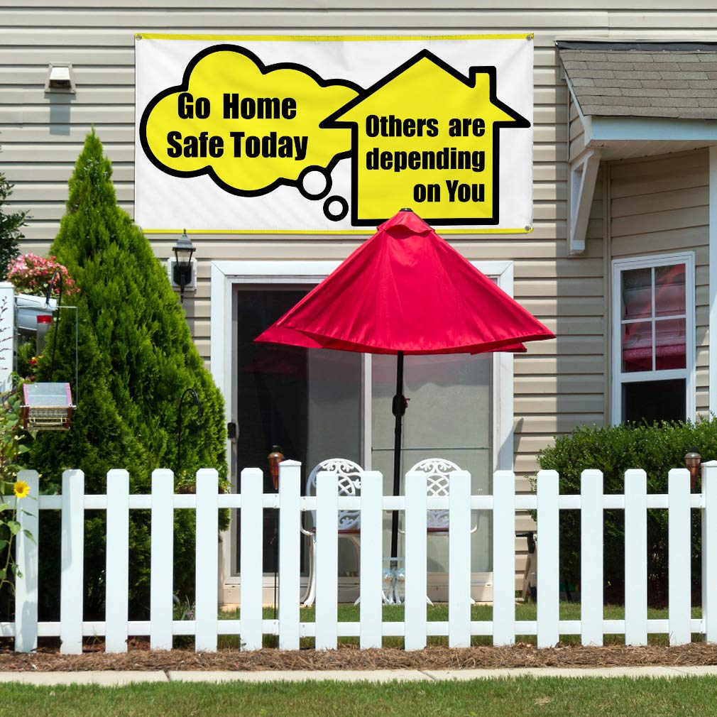 4 Grommets Vinyl Banner Sign Go Home Safe Others Depend On You Today Marketing Advertising Yellow Set of 2 28inx70in Multiple Sizes Available