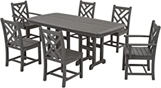 product image for POLYWOOD PWS121-1-GY Chippendale 7-Piece Dining Set, Slate Grey