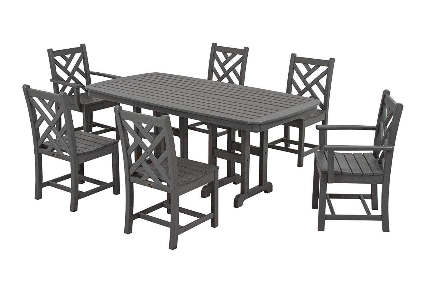 Amazon.com : POLYWOOD PWS121 1 GY Chippendale 7 Piece Dining Set, Slate  Grey : Outdoor And Patio Furniture Sets : Patio, Lawn U0026 Garden