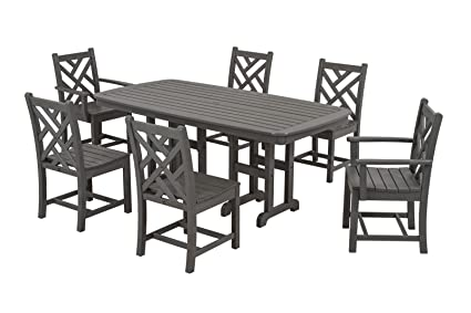 Merveilleux POLYWOOD PWS121 1 GY Chippendale 7 Piece Dining Set, Slate Grey