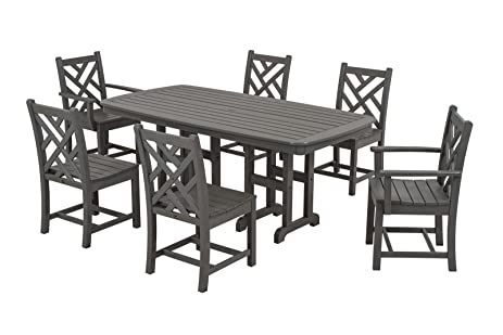 Amazon.com : POLYWOOD PWS121-1-GY Chippendale 7-Piece Dining Set ...