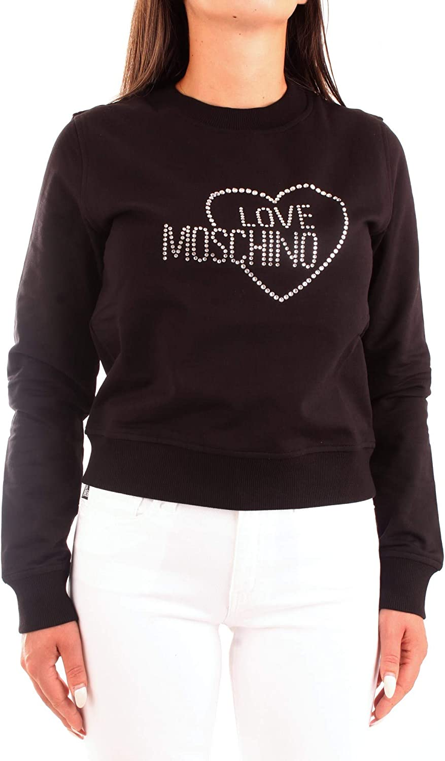 Love Moschino Damen Long Sleeve Heart and Logo Studs Sweater Black