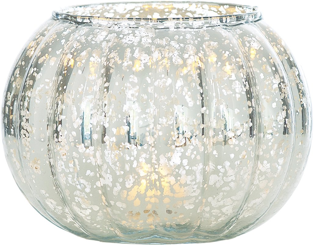 Luna Bazaar Silver Autumn Large Mercury Glass Vase - For Home Decor, Parties, and Wedding Decorations