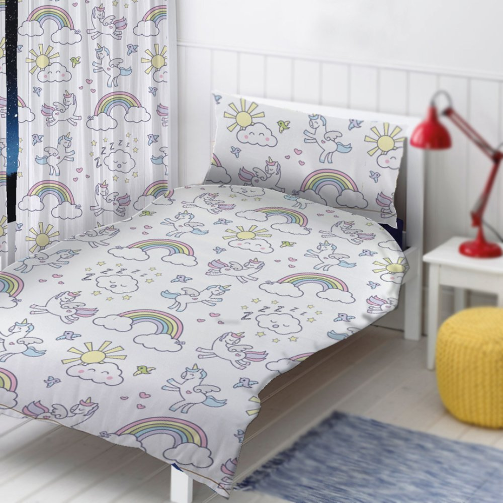 "Unicorn Design by The Gift Scholars. Reversible Toddler duvet, Single Duvet, 54"" Curtains 72"" Curtains. Fun Kids Boys Girls Toddler Duvet set with matching pillowcase (Unicorn Curtains 54"