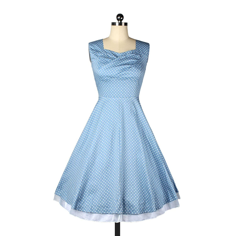Frau Retro-Taille Dünnes Sleeveless Kleid,LightBlueDots-M