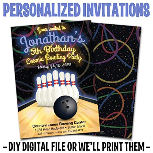 Amazon Custom Personalized Bowling Birthday Invitations