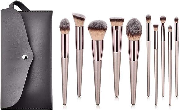 Set de pinceles de maquillaje 10 palos pincel de belleza profesional base de maquillaje corrector mixto conjunto de pinceles de maquillaje para ojos (10 sticks): Amazon ...