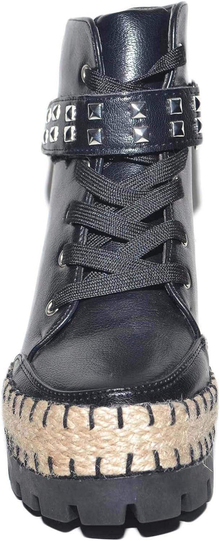 Sneakers alta donna con para zeppa interna chiusura in lacci fondo paglia e gomm