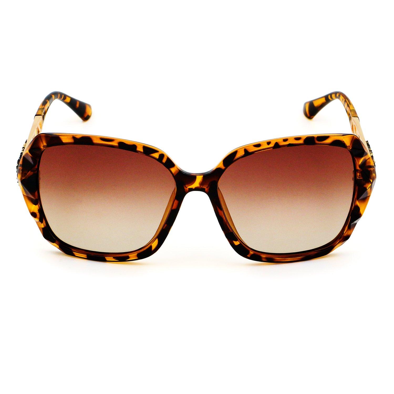Leckirut Women Shades Classic Oversized Polarized Sunglasses 100% UV Protection Eyewear Leopard by LECKIRUT (Image #3)