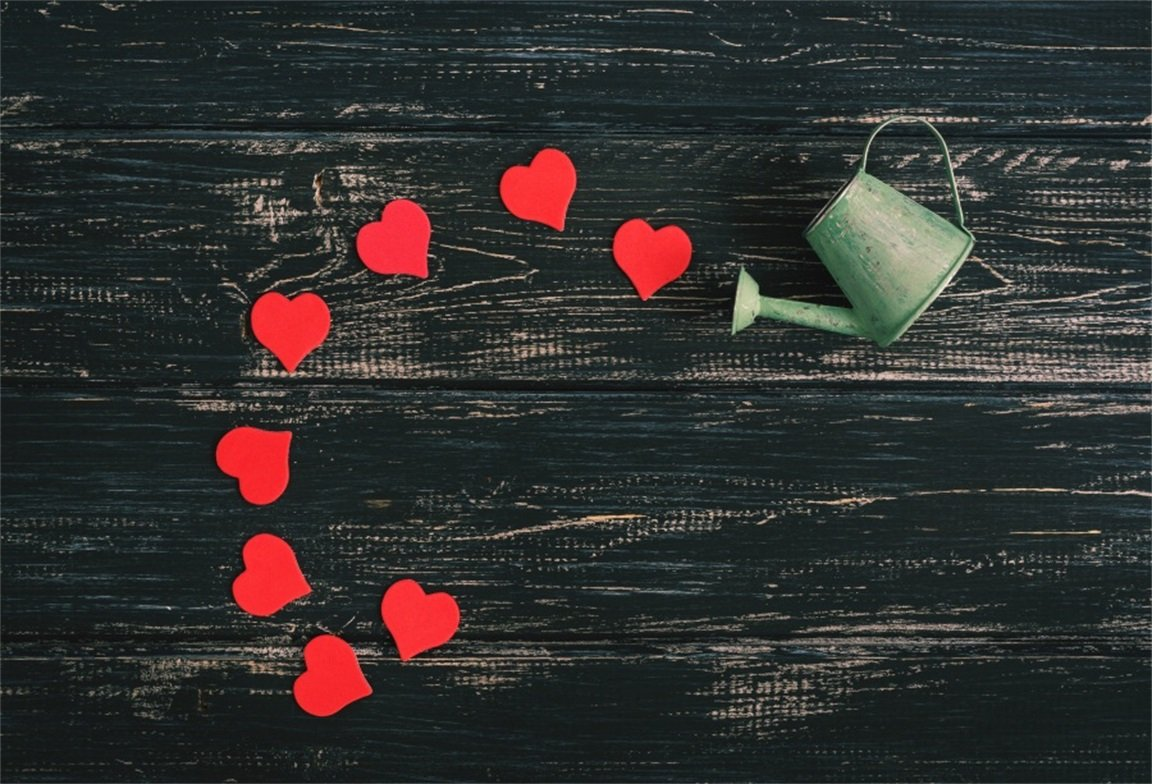 aofoto 7 x 5ftレッドLove Hearts Pour Outの古いWatering Can写真背景ヴィンテージ木製ボードバックドロップバレンタインデーの素朴なカップルKid Girl Portrait Vintage Photo Studio Props壁紙   B078JJNHXG