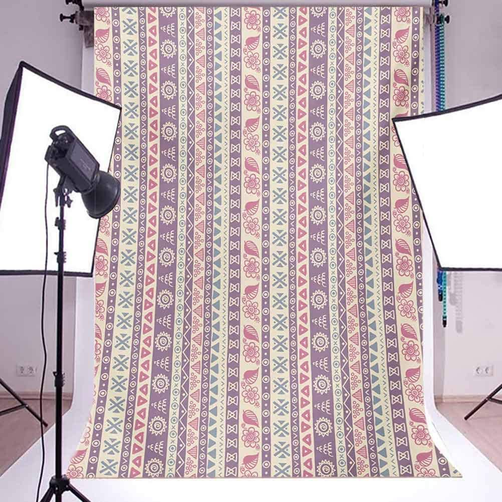 Striped 10x12 FT Photo Backdrops,Soft Tone with Ancient Elements Floral Leaf Archaic American Design Background for Baby Shower Birthday Wedding Bridal Shower Party Decoration Photo Studio
