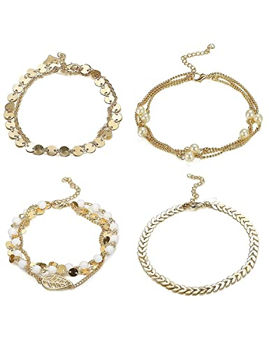 Besteel 8PCS Anklets Bracelets for Women Girls Pearl Chains Anklets Leaf Infinite Vintage Fashion Jewelry