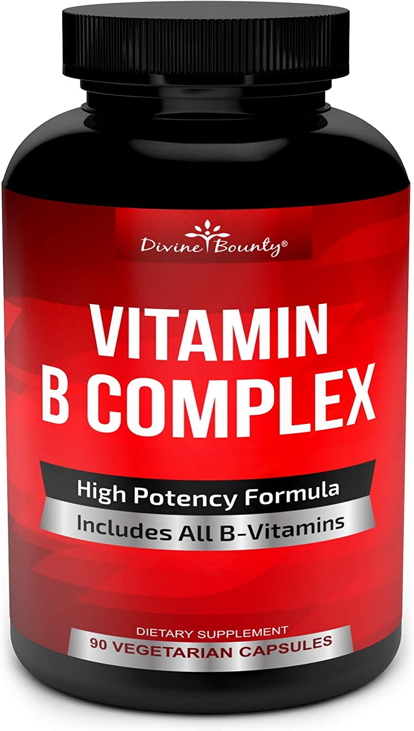 Super B Complex Vitamins - All B Vitamins Including B12, B1, B2, B3, B5, B6, B7, B9, Folic Acid - Vitamin B Complex Supplement - Support Healthy Energy Metabolism - 90 Vegetarian Capsules: Health & Personal Care