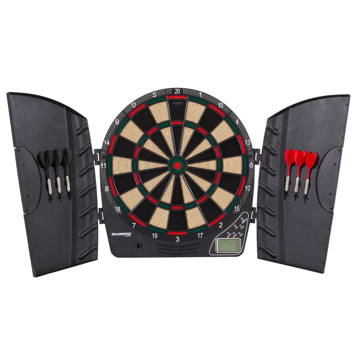 Bullshooter Reactor Electronic Dartboard and Cabinet with LCD display, Cricket Scoring Displays, 8-Player Scoring, and More