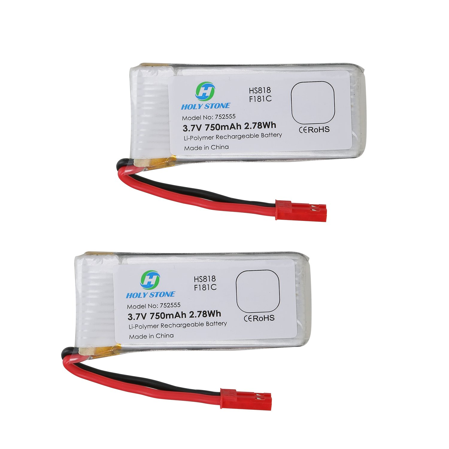 Holy Stone 2 X 37v 750mah Lipo Battery For Rc Circuithelp Lithium Ion 2000mah Quadcopter F181 Toys Games