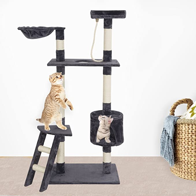 Suncoo Cat Activity Tree And Towers Condo Furniture Scratching Kitty Pet Play House With Stair by Suncoo