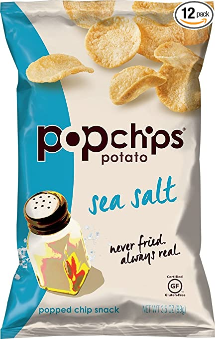 Popchips Potato Chips, Sea Salt Potato Chips, (3.5 oz Bags), Gluten Free Potato Chips, Low Fat, No Artificial Flavoring, Kosher (Pacl of 12)