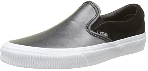 Classic Slip-On Seasonal Leather, Zapatillas para Mujer, Varios Colores (2-Tone Metallic/Black/True White), 36.5 EU Vans