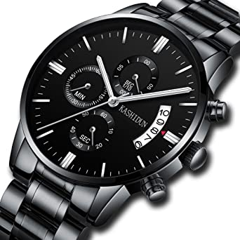 Watches Mens Sports Chronograph Waterproof Analog Quartz Watch with Black Leather Band Fashion Watch Women Watches