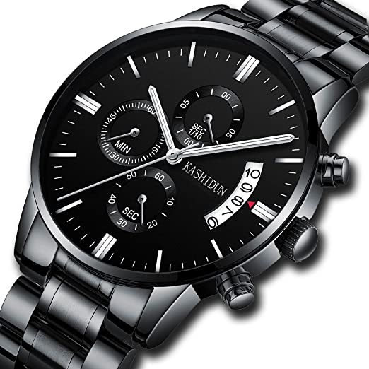 Mens Stainless Steel Watches Men Chronograph Waterproof Sport Date Quartz Wristwatch Classic Watch Black Color