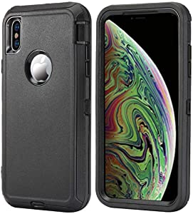 Aimoll-88 for iPhone Xs Max Case, [with Built-in Screen Protector] [Heavy Duty] Protective Full-Body Shockproof Hard Dual Triple Rugged Cover for iPhone Xs Max (6.5 inch) (Black)