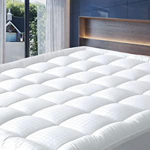 """Cosylifee Full Mattress Pad Cover Thick Quilted Mattress Topper Cooling Mattress Protector Overfilled Cotton Top Pillow Top with Snow Down Alternative Fill (8-21""""Fitted Deep Pocket)"""
