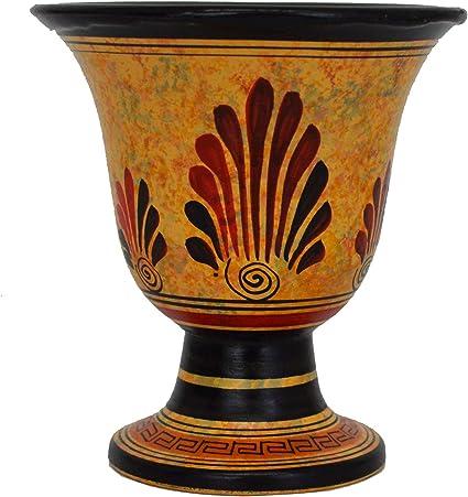 Copa justa de Pitágoras con la diosa Atenea pintada a mano en el exterior