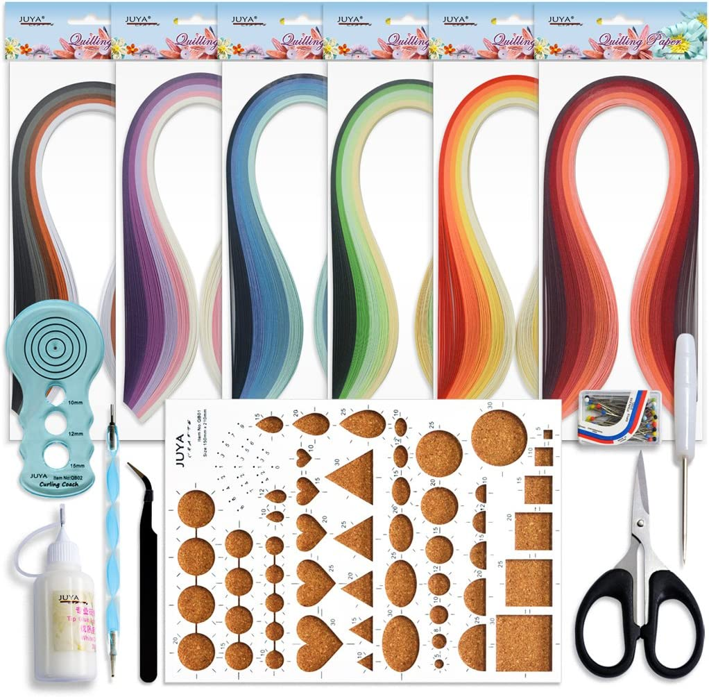 Width:5mm with Glue, Blue Tools Juya Paper Quilling Kits with 30 Colors 600 Strips and 8 Tools