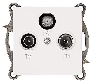 McPower 1534279 Cup - Toma de antena para TV, radio y satélite, color blanco