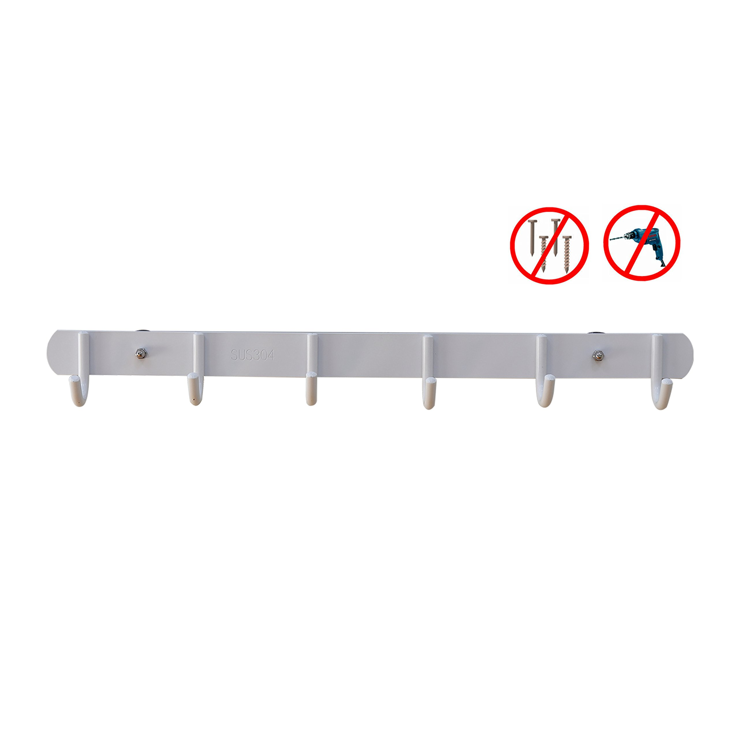 EINFAGOOD Over the Door Hooks Stainless, Coat Rack children with Magic Adhesive Pads, Adjustable According to Your Child's Growth, Stainless Steel White