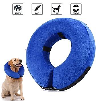 Collar de recuperación inflable para perros, cono de cuello isabelino ajustable para mascotas Recuperación de cirugía o heridas (L): Amazon.es: Productos ...
