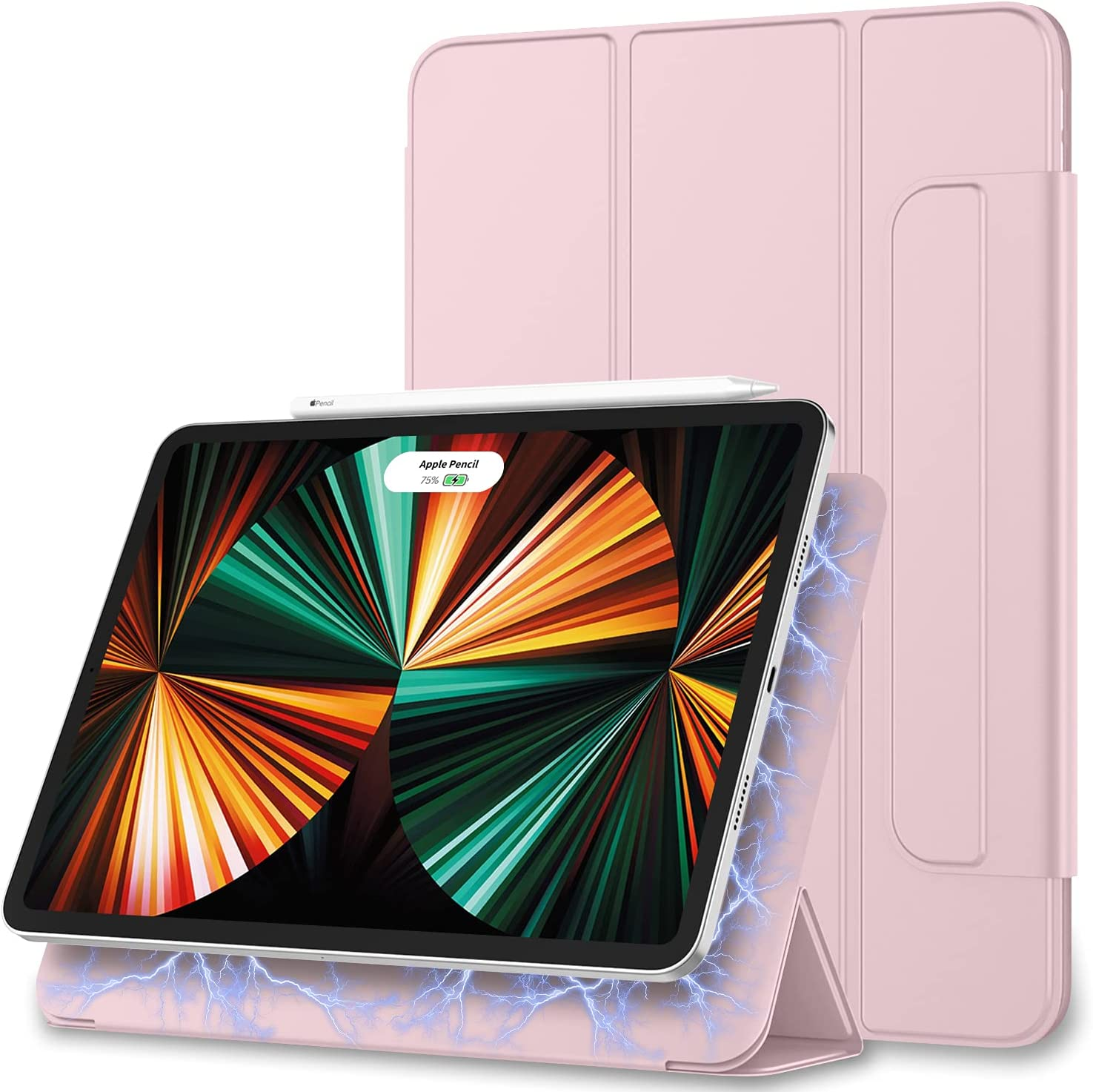 ZryXal iPad Pro 12.9 Case 2021(5th Generation), Rebound Magnetic Smart Case Cover with Convenient Magnetic Attachment and Auto Sleep/Wake Feature for 2021 iPad Pro 12.9 (Pink)