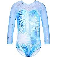 TFJH E One-piece Girls Sparkle Gymnastics Leotard Athletic Dancing Clothes 3-12Y
